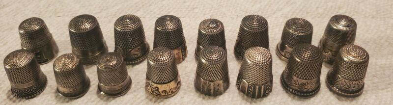 Antique vtg lot of 16 sterling silver thimble collection