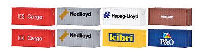 Kibri 10924 - H0 20-Fuß-Container, 8 Stück - Neu