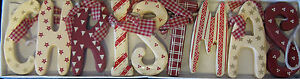 Christmas garland decoration present tree red and white wooden bargain clearance