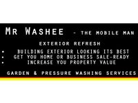 MR WASHEE-THE MOBILE MAN. GARDEN SERVICES & PRESSURE WASHING .EXTERIOR REFRESH, CLEARANCE.
