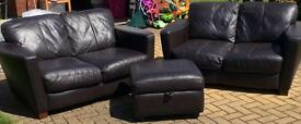 2 x DFS leather settees & footstool £200