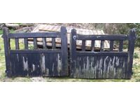 Pair of vintage wooden garden driveway gates for repair