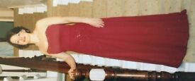Stunning strapless evening dress, wine colour, size 10