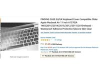 (Brand New) Keyboard Cover Compatible Older Apple Macbook Air 11 inch
