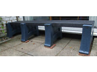 GARDEN BENCH SEAT, RECYCLED PLASTIC, 2M LONG, HEAVY DUTY