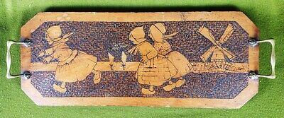 2830 A Vintage Dutch Scene Poker Work Tray With Brass Handles