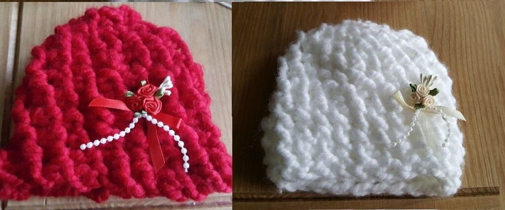 2 baby crochet hats and 1 baby bonnet