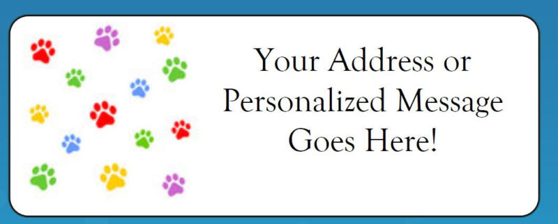 60 Personalized Colorful Paw Prints Return Address Labels