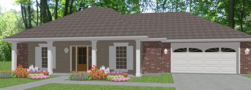 Custom House Home Building Plans Split Ranch 3 bed 1890 sf -- PDF file