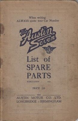 AUSTIN 7 SEVEN CHASSIS (WITH PREFACE A1 A2 A3 A4  CH.A1) FACTORY PARTS CATALOGUE