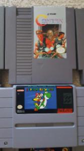 Contra (NES) and Super Mario World (SNES)