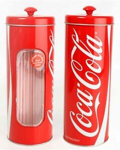 Official Coca Cola Straw Holder Retro Table Cafe Bar Coke Storage Tin Gift