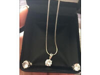 Earrings and pendant set 925 authentic Austrian crystal
