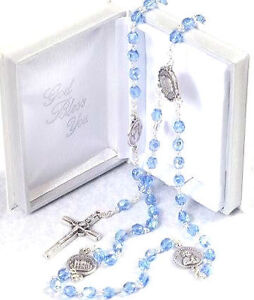 BLUE-or-CRYSTAL-CLEAR-GLASS-ROSARY-BEADS-Rosaries-in-Prayer-Book-Box-Silver