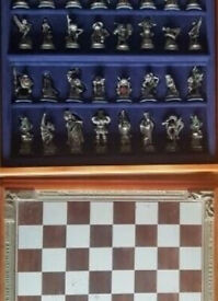 Fantasy of the Crystal, pewter sculptured Chess Set Danbury Mint, storage compartment, Certificate
