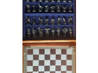 Fantasy of the Crystal – pewter sculptured Chess Set Danbury Mint, storage compartment, Certificate