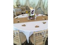 Hessian and lace Table Runners used for wedding