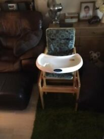 Wooden high chair/ table and chair