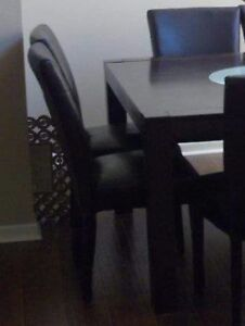 Marble top coffee and 2 side tall tables, black square dinning 8