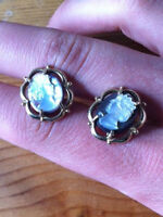 10k STAMPED GOLD ABALONE CAMEO EARRINGS (VINTAGE/ANTIQUE?)
