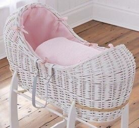 Clair de lune white wicker Moses basket & stand