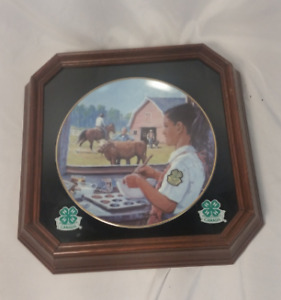 4-H Alberta 75th Anniversary collector plate with frame