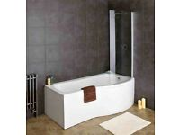 Brand new synergy 1600x850x750 left hand p shaped bath