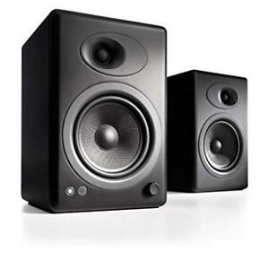 Pair of AudioEngine A5 speakers, black, with wall mounts