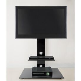 Black glass tv stand/unit.