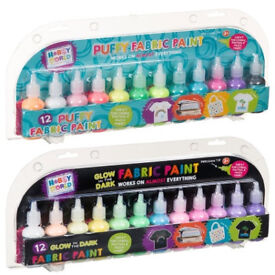 Hobby World Fabric Paints 12pieces Puffy , Glow in the Dark