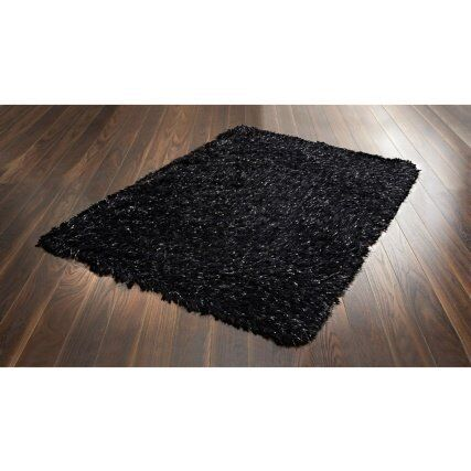 Brand New Glitter Sparkle Rug In Black With Silver