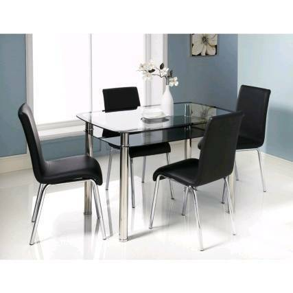 Brand New Boston Dining Table and 4 leather chairs