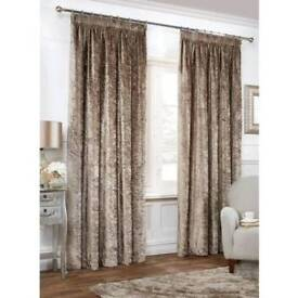 Crushed Velvet style curtains 66w x 72 length