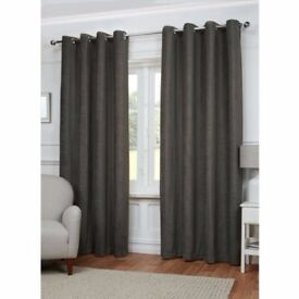 Grey Charcoal Plain Chenille Fully Lined Pair of Curtains ** NEW ** 46 x 54 inches approx