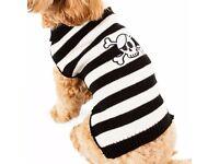 DOG HALLOWEEN JUMPER BLACK AND WHITE SKULL AND BONES MEDIUM OR LARGE