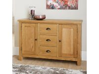 Solid Oak Furniture for sale nearly new Tv unit, coffee table, wide sideboard