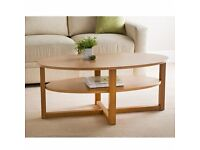 MILTON STYLE Oak Finish Oval Shaped Coffee Table With Undershelf (CUD DELIVER)