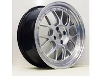 LMR 17X7.5 4X100 GOLF MK2/BMW E30 SILVER ALLOY WHEELS