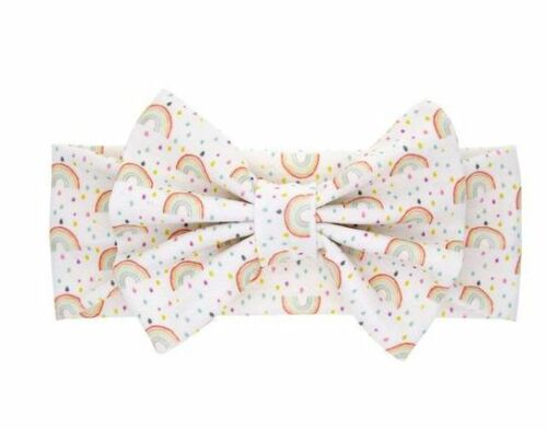 Adorable baby girl headband with bow in Rainbow Print, Free Shipping
