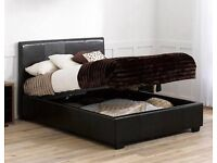 Leather double storage bed new