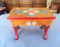 Wood Bench STOOL - Hand Painted Flowers City of Montréal Greater Montréal Preview