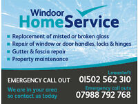 Property maintenance service including window, door, glass, hinges, locks repair or replace