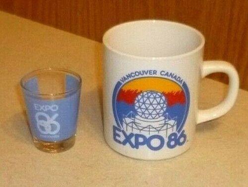 VINTAGE 1986 EXPO WORLD EXPOSITION VANCOUVER CANADA COFFEE MUG CUP & SHOT GLASS