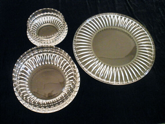 Spectacular Lead Crystal 3 Pc Party Set Centerpiece Platter Matching Dip Bowls