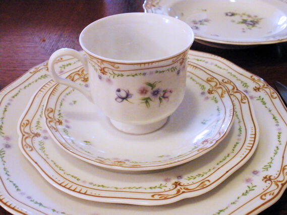 Mikasa L9301 Chatelet 5-Piece Place Setting Dinner Plate Soup Salad Cup Saucer