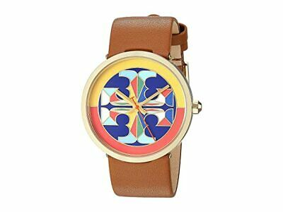 NEW Tory Burch Reva Watch Gold Brown Luggage Leather TBW4040 Stained Glass Logo