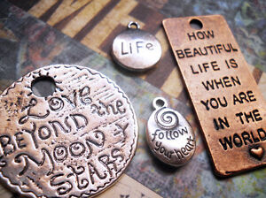 Quote Pendants Charms-Word Charms Pendants-Assorted Lot-Copper, Silver