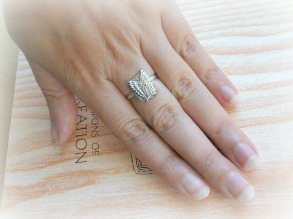 Attack on Titan Ring Shingeki No Kyojin Sterling Silver Jewel Ring Wings Freedom