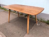 1960's Ercol Plank Dining Table in solid Elm & Beech. Vintage/Retro/Mid Century