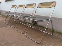 Set of Four 1970s Folding Plia Chairs by Giancarlo Piretti for Castelli. Vintage/Retro/Mid Century